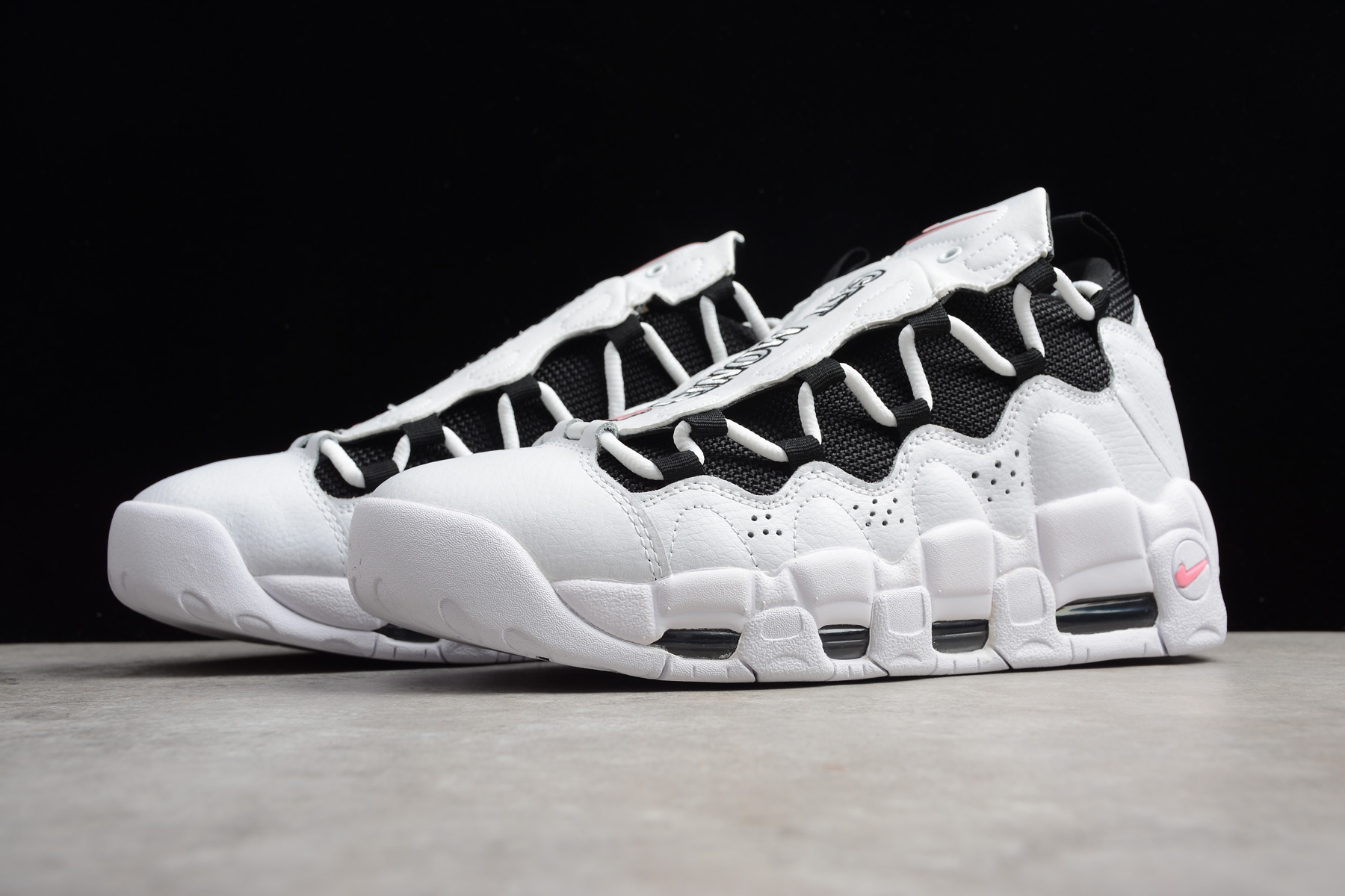 2018 nike air more money white black coral chalk shoes for sale