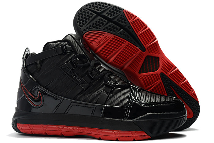 mens nike lebron 3 black varsity crimson new release