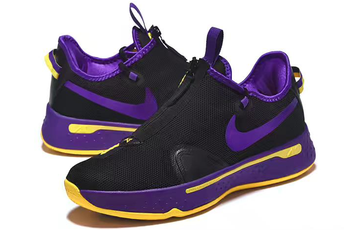 mens nike pg 4 black purple yellow for sale