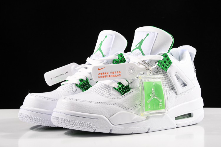new air jordan 4 green metallic white pine green metallic silver