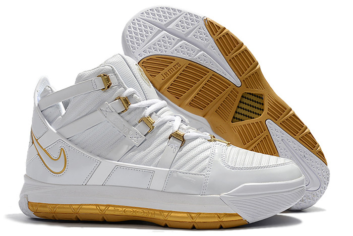 new nike lebron 3 white metallic gold on sale
