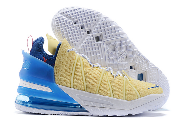 nike lebron 18 yellow blue white pink sneakers to buy