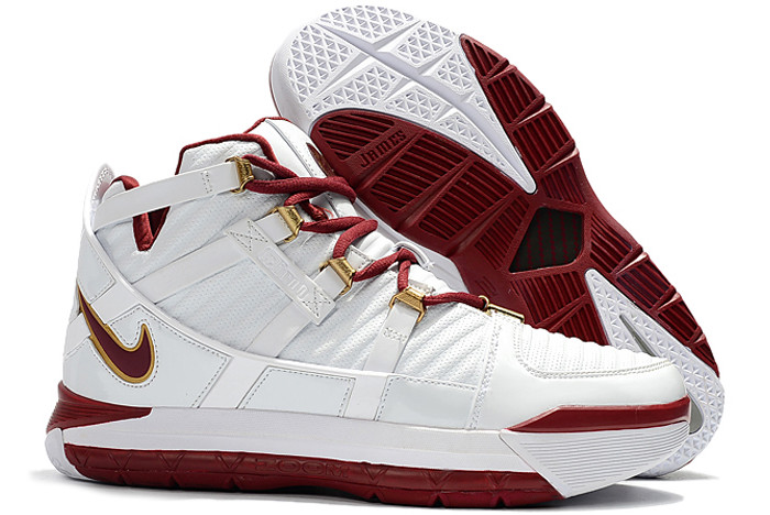 nike lebron 3 white wine red metallic gold mens size