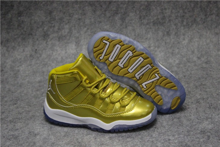 "Kids Air Jordan 11 ""Gold White"" Shoes"