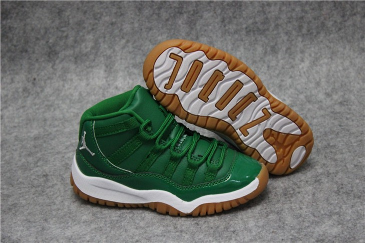 "Kids Air Jordan 11 ""Green White"" Shoes"