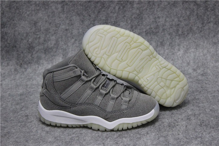 "Kids Air Jordan 11 ""Grey Suede"" Shoes"