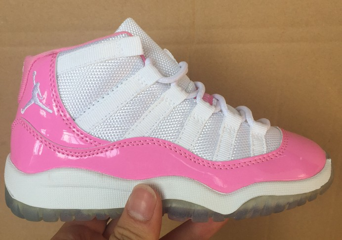 Kids Air Jordan 11 Pink White Shoes