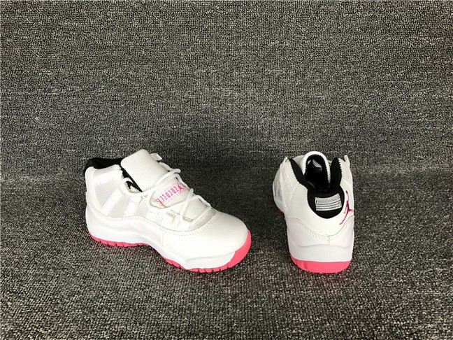 Kids Air Jordan 11 White Pink Shoes