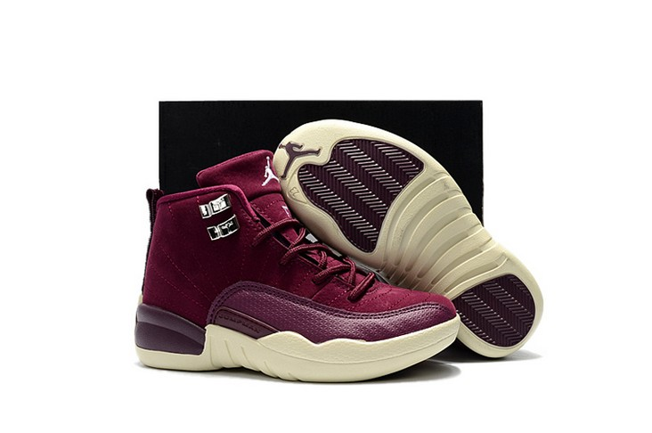 "2018 Kids Air Jordan 12 ""Bordeaux"" Shoes"
