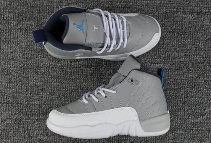 2018 Kids Air Jordan 12 Cool Grey White University Blue Shoes