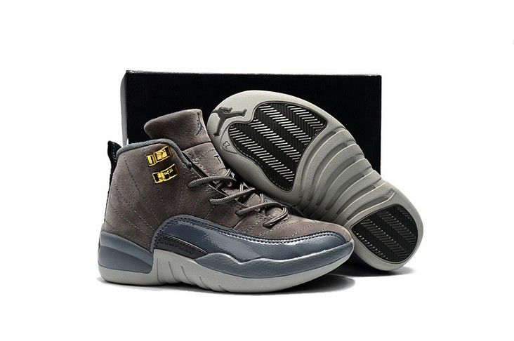"2018 Kids Air Jordan 12 ""Dark Grey"" Shoes"
