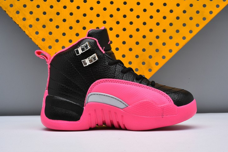 "2018 Kids Air Jordan 12 ""Deadly Pink"" Black Deadly Pink Metallic Silver Shoes"