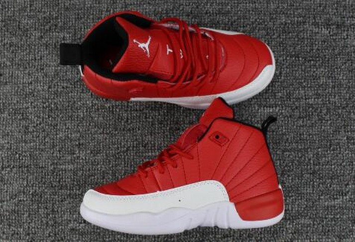 2018 Kids Air Jordan 12 Gym Red White Shoes