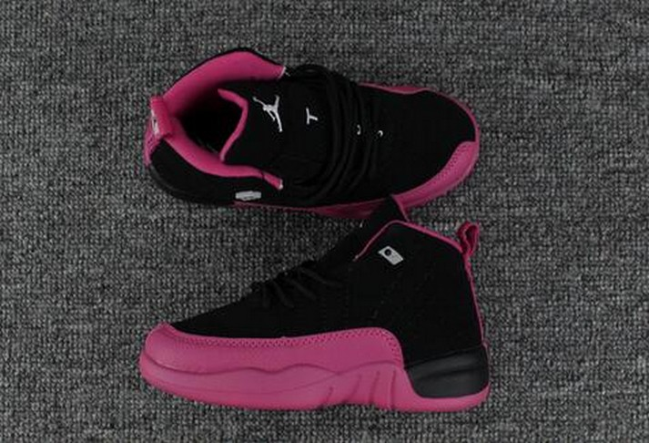 2018 Kids Air Jordan 12 Pink Black Shoes