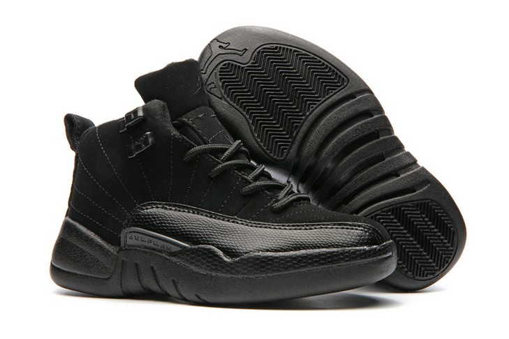 "2018 Kids Air Jordan 12 ""Triple Black"" Shoes"