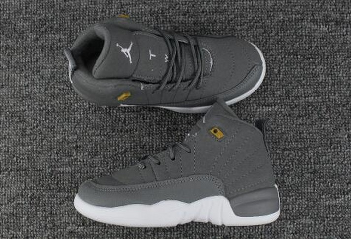 2018 Kids Air Jordan 12 Wolf Grey White Shoes