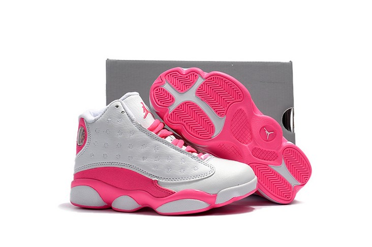 2018 Kids Air Jordan 13 White Vivid Pink Shoes