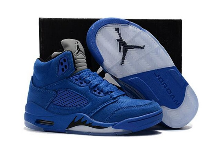 "2018 Kids Air Jordan 5 ""Blue Suede"" Shoes"