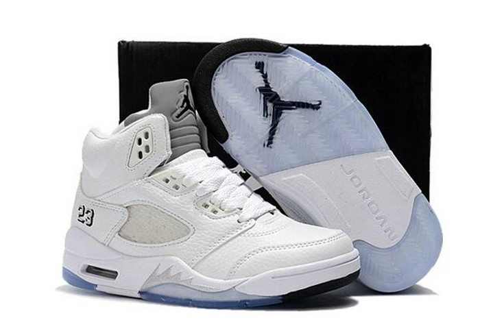 "2018 Kids Air Jordan 5 ""Metallic White"" Shoes"