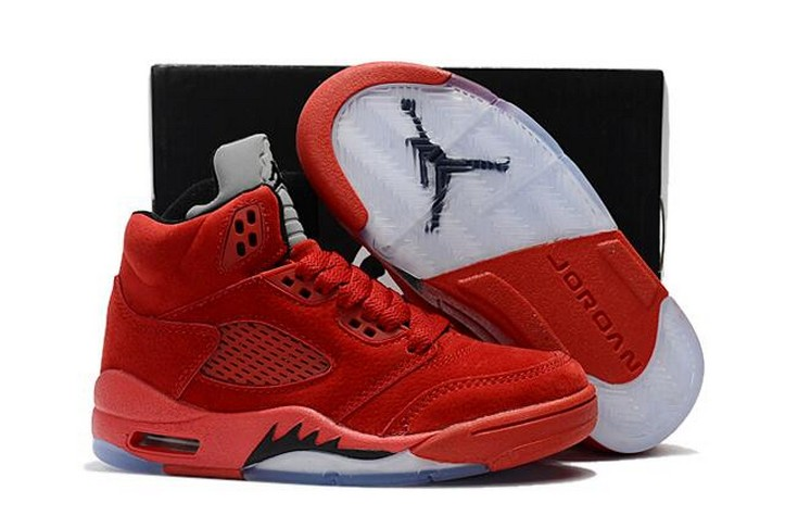 "2018 Kids Air Jordan 5 ""Red Suede"" Shoes"