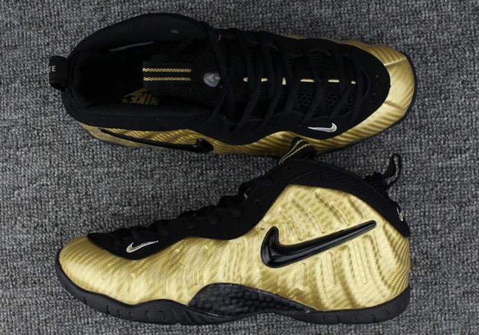 Nike Air Foamposite Pro Metallic Gold Black White Shoes