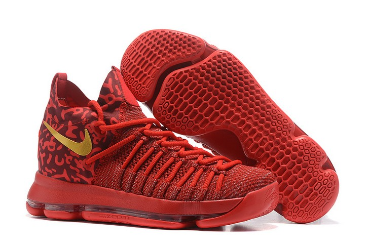 Nike Zoom KD 9 Elite Varsity Red Gold Basketball Shoes