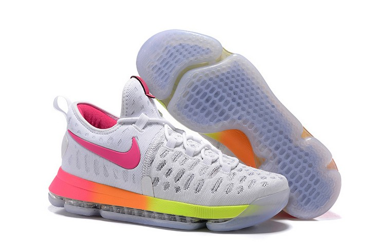 Nike KD 9 White Pink Volt Yellow Basketball Shoes