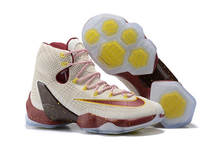 Nike LeBron 13 Elite Cavs White Wine Red Yellow Basketball Shoes