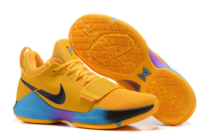 "2018 Nike PG 1 ""Flip The Switch"" Yellow Black Blue Violet Basketball Shoes"