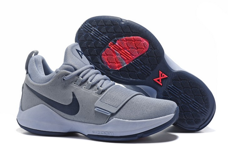 2018 Nike PG 1 Glacier Grey Armory Blue Basketball Shoes