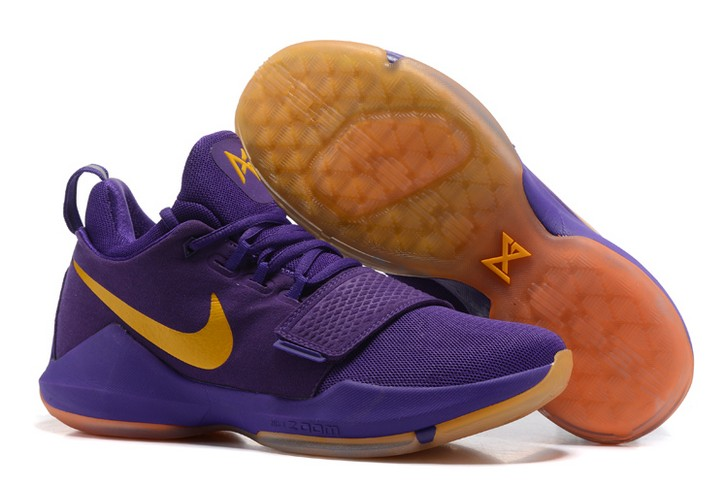 2018 Nike PG 1 Lakers Purple Yellow Basketball Shoes