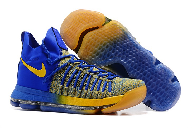 "2018 Nike KD 9 Elite ""Warriors Away"" Blue Yellow Basketball Shoes"