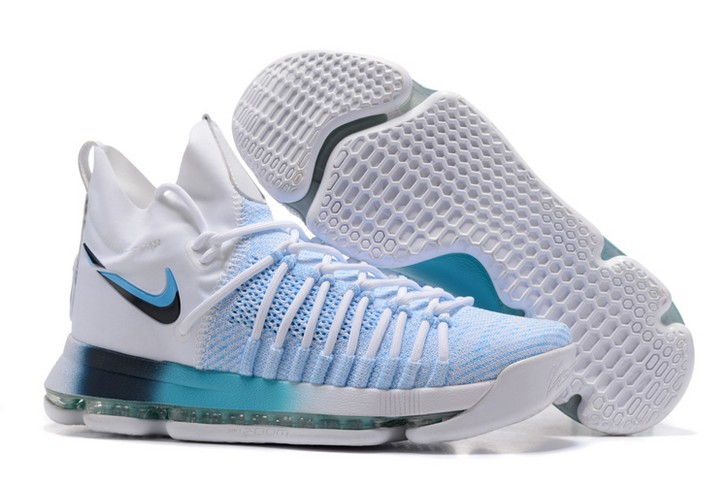 2018 Nike KD 9 Elite White Blue Gradient Midsole Basketball Shoes