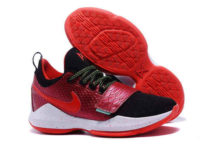 2018 Nike PG 1 Custom Black Wine Red Fish Scales Basketball Shoes