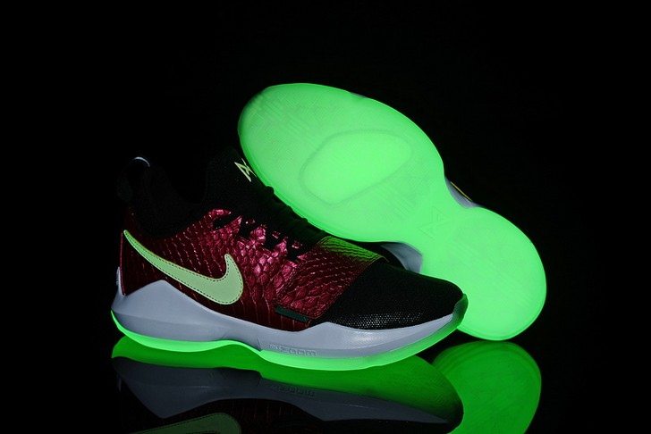 2018 Glow In The Dark Nike PG 1 Black Wine Red Fish Scales Basketball Shoes