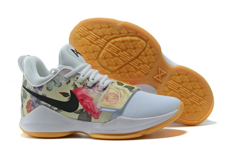 "2018 Nike PG 1 ""Floral Print"" White Basketball Shoes"