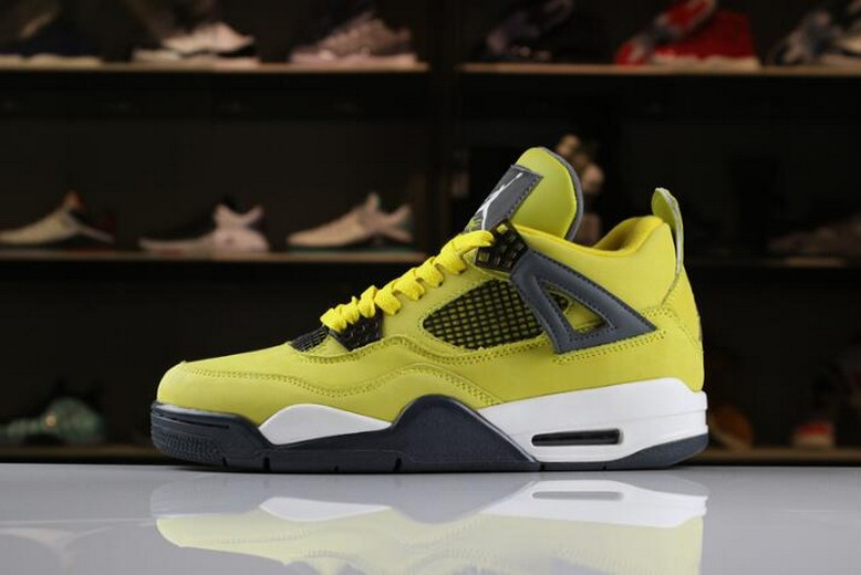 "2018 Air Jordan 4 ""Lightning"" Tour Yellow Dark Blue Grey White 314254-702"