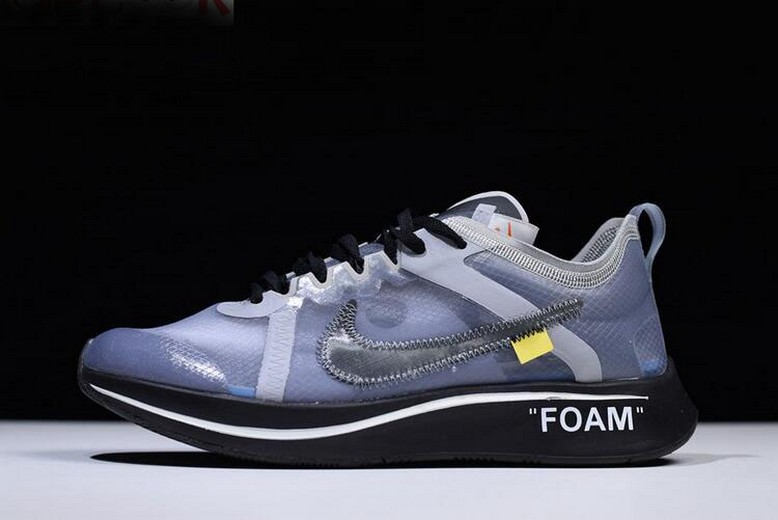 2018 Off White x Nike Zoom Fly SP Black Grey White AJ4588-002 Shoes