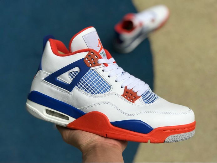 "New Air Jordan 4 (IV) Retro Custom ""Knicks"" White Royal Blue Orange 308497-171 Shoes"