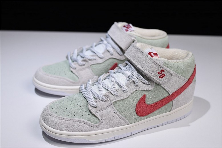 2018 New Nike SB Dunk Mid White Widow Sail Gym Red Fresh Mint AQ2207-163 Shoes