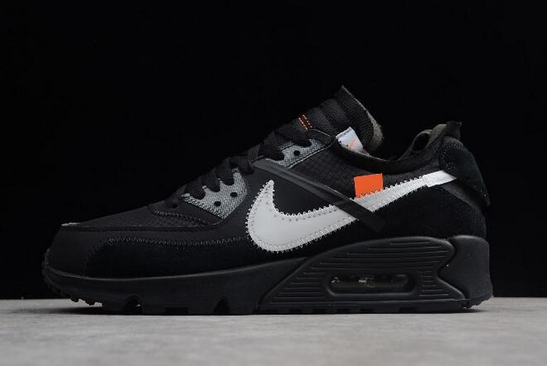 2018 Off White x Nike Air Max 90 Black White AA7293-001 Shoes