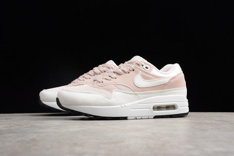 2018 Womens Nike Air Max 1 Barely Rose White Black 319986-607 Running Shoes