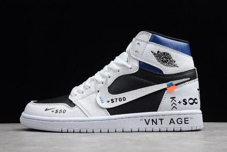 "2019 Mens Air Jordan 1 High OG ""VNT AGE"" White Black University Blue 555088-310 Shoes"