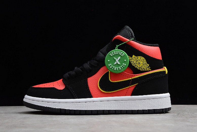 "2019 Mens Air Jordan 1 Retro Mid ""Hot Punch"" Black Volt BQ6472-006 Shoes"
