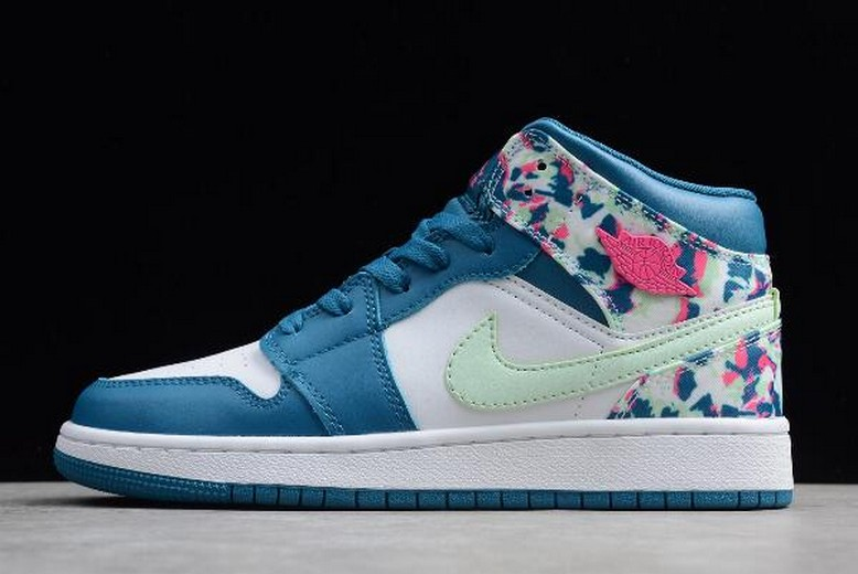 2019 New WMNS Air Jordan 1 Mid White Blue Pink Green 555112-300 Shoes