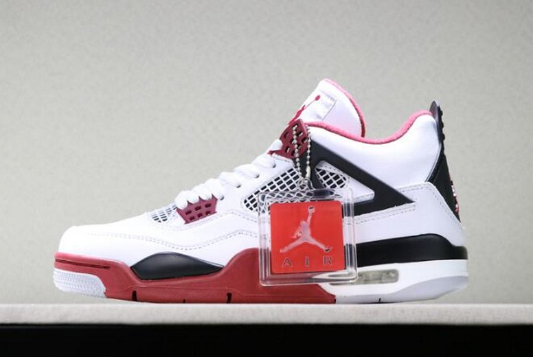 "2019 New Air Jordan 4 Retro ""Fire Red"" White Varsity Red Black 308497-160 Shoes"