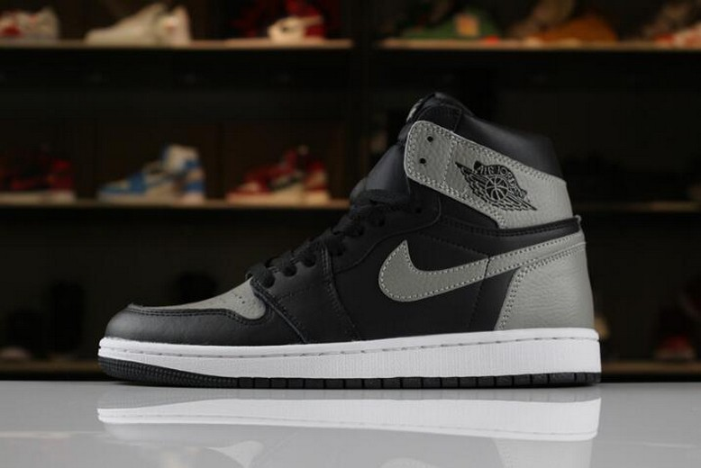"Mens Air Jordan 1 Retro High OG ""Shadow"" Black Medium Grey White 555088-013"