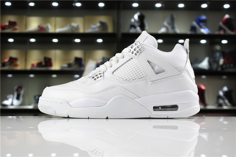 "Air Jordan 4 IV ""Pure Money"" White Metallic Silver 308497-100"