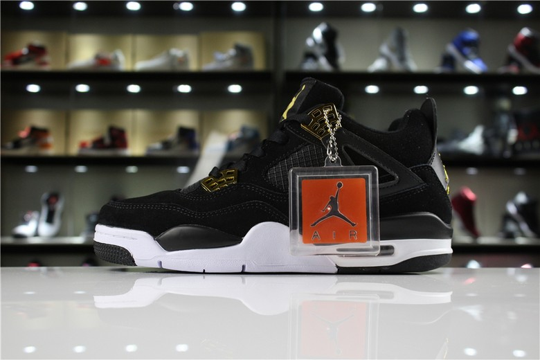 "Air Jordan 4 Retro ""Royalty"" Black Metallic Gold White 308497-032"