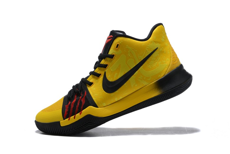 "Bruce Lee Nike Kyrie 3 ""Mamba Mentality"" Tour Yellow Black AJ1692-700 Basketball Shoes"